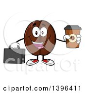 Clipart Of A Cartoon Coffee Bean Mascot Character Holding A Briefcase And A Take Out Cup Royalty Free Vector Illustration