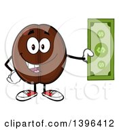 Clipart Of A Cartoon Coffee Bean Mascot Character Holding Cash Royalty Free Vector Illustration