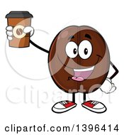Clipart Of A Cartoon Coffee Bean Mascot Character Holding Up A Take Out Cup Royalty Free Vector Illustration