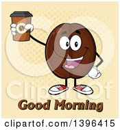 Clipart Of A Cartoon Coffee Bean Mascot Character Holding Up A Take Out Cup Over Halftone Royalty Free Vector Illustration