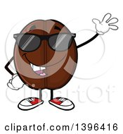 Clipart Of A Cartoon Coffee Bean Mascot Character Wearing Sunglasses And Waving Royalty Free Vector Illustration