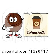 Clipart Of A Cartoon Coffee Bean Mascot Character Holding A To Go Sign Royalty Free Vector Illustration