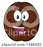 Clipart Of A Cartoon Coffee Bean Mascot Character Royalty Free Vector Illustration by Hit Toon