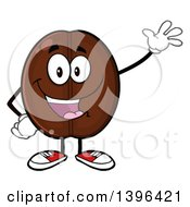 Clipart Of A Cartoon Coffee Bean Mascot Character Waving Royalty Free Vector Illustration