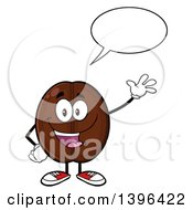 Clipart Of A Cartoon Coffee Bean Mascot Character Waving And Talking Royalty Free Vector Illustration