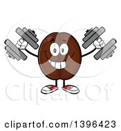 Clipart Of A Cartoon Coffee Bean Mascot Character Working Out With Dumbbells Royalty Free Vector Illustration by Hit Toon