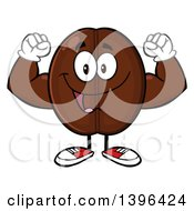 Clipart Of A Cartoon Coffee Bean Mascot Character Flexing His Muscles Royalty Free Vector Illustration