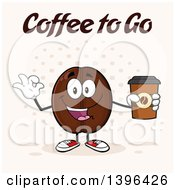 Clipart Of A Cartoon Coffee Bean Mascot Character Holding A Take Out Cup And Gesturing Ok Over Halftone Royalty Free Vector Illustration