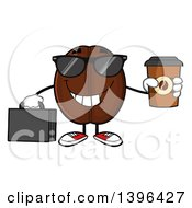 Clipart Of A Cartoon Coffee Bean Mascot Character Wearing Sunglasses Holding A Briefcase And A Take Out Cup Royalty Free Vector Illustration by Hit Toon