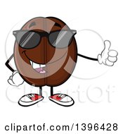 Clipart Of A Cartoon Coffee Bean Mascot Character Wearing Sunglasses And Giving A Thumb Up Royalty Free Vector Illustration