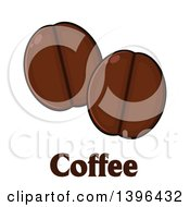 Clipart Of Cartoon Coffee Beans Over Text Royalty Free Vector Illustration