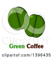 Clipart Of Cartoon Green Coffee Beans Over Text Royalty Free Vector Illustration