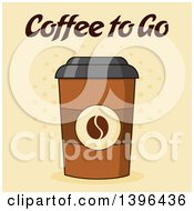 Clipart Of A Take Away Coffee Cup With Text On Halftone Royalty Free Vector Illustration