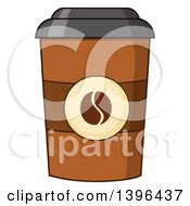 Clipart Of A Take Away Coffee Cup Royalty Free Vector Illustration