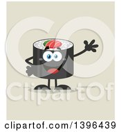 Clipart Of A Flat Design Happy Sushi Roll Character Waving Royalty Free Vector Illustration by Hit Toon