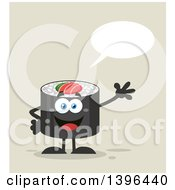 Clipart Of A Flat Design Happy Sushi Roll Character Waving And Talking Royalty Free Vector Illustration by Hit Toon