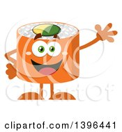 Clipart Of A Flat Design Happy Salmon Sushi Roll Character Waving Royalty Free Vector Illustration