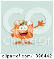 Clipart Of A Flat Design Happy Salmon Sushi Roll Character Waving Royalty Free Vector Illustration by Hit Toon