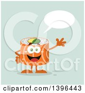 Clipart Of A Flat Design Happy Salmon Sushi Roll Character Waving And Talking Royalty Free Vector Illustration by Hit Toon