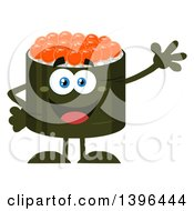 Clipart Of A Flat Design Happy Caviar Sushi Roll Character Waving Royalty Free Vector Illustration by Hit Toon