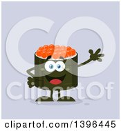 Clipart Of A Flat Design Happy Caviar Sushi Roll Character Waving Royalty Free Vector Illustration