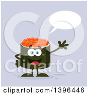 Clipart Of A Flat Design Happy Caviar Sushi Roll Character Waving And Talking Royalty Free Vector Illustration by Hit Toon