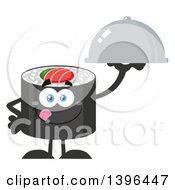 Clipart Of A Flat Design Happy Sushi Roll Character Holding A Cloche Platter Royalty Free Vector Illustration