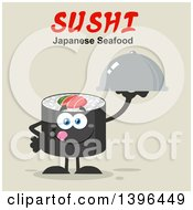 Clipart Of A Flat Design Happy Sushi Roll Character Holding A Cloche Platter Under Text Royalty Free Vector Illustration by Hit Toon