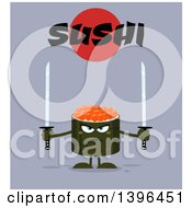 Clipart Of A Flat Design Happy Caviar Sushi Roll Character Holding Swords Under Text Royalty Free Vector Illustration by Hit Toon