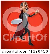 Clipart Of A 3d Dracula Vampire Holding A Plate Royalty Free Illustration