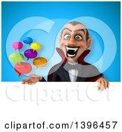 Clipart Of A 3d Dracula Vampire Holding Speech Balloons Royalty Free Illustration