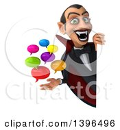 Clipart Of A 3d Dracula Vampire Holding Speech Balloons On A White Background Royalty Free Illustration