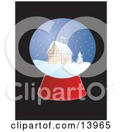 Christmas Snow Globe With A Cabin In The Snow Clipart Illustration