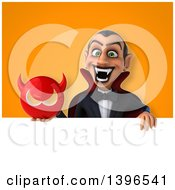 Clipart Of A 3d Dracula Vampire Holding A Devil Head Royalty Free Illustration