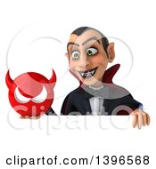 Clipart Of A 3d Dracula Vampire Holding A Devil Head On A White Background Royalty Free Illustration