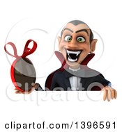 Clipart Of A 3d Dracula Vampire Holding A Chocolate Easter Egg On A White Background Royalty Free Illustration