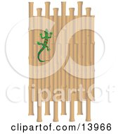 Green And Red Striped Gecko Climbing A Bamboo Wall Clipart Illustration