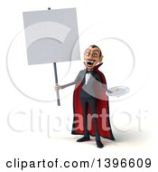Clipart Of A 3d Dracula Vampire Holding A Plate On A White Background Royalty Free Illustration