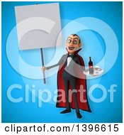 Clipart Of A 3d Dracula Vampire Serving Wine Royalty Free Illustration