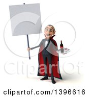 Clipart Of A 3d Dracula Vampire Serving Wine On A White Background Royalty Free Illustration