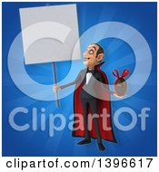 Clipart Of A 3d Dracula Vampire Holding A Chocolate Easter Egg Royalty Free Illustration
