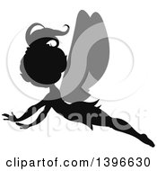 Clipart Of A Black Silhouetted Flying Female Fairy With Gray Wings Royalty Free Vector Illustration