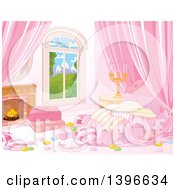 Clipart Of A Candy Themened Bedroom With A Fireplace And View Of Mountains Royalty Free Vector Illustration