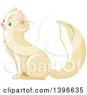 Clipart Of A Happy Cute Beige Cat With Blue Eyes Sitting And Facing Left Royalty Free Vector Illustration