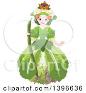 Clipart Of A Beautiful Garden Fairy Queen Wearing Vegetables Royalty Free Vector Illustration by Pushkin