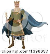 Clipart Of A Fairy Tale Medieval Blond Caucasian King Royalty Free Vector Illustration by Pushkin