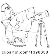 Clipart Of A Cartoon Black And White Lineart Chubby Male Astronomer And His Wife Looking Through A Telescope Royalty Free Vector Illustration by djart