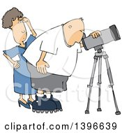 Clipart Of A Cartoon Chubby White Male Astronomer And His Wife Looking Through A Telescope Royalty Free Vector Illustration