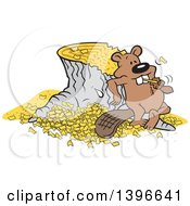 Cartoon Pleased Beaver Eating A Chunk After Chopping Down And Chipping Up A Tree