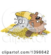 Clipart Of A Cartoon Pleased Beaver Eating A Chunk After Chopping Down And Chipping Up A Distraught Tree Royalty Free Vector Illustration
